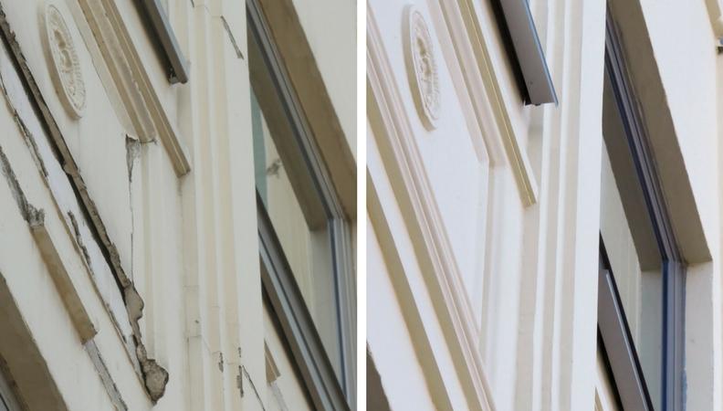antes y después de una fachada en Madrid